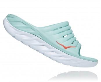Hoka Ora Recovery - כפכפי סלייד נשים אורה הוקה בצבע תכלת/לבן