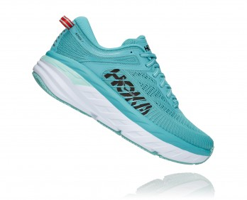 Hoka Bondi 7 Wide - נעלי ספורט נשים הוקה בונדי 7 רחבות בצבע תכלת/אקווה/כתום