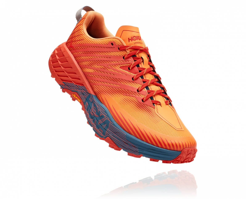 Hoka Speedgoat 4 - נעלי ספורט גברים הוקה ספידגוט 4 בצבע פיאסטה/כתום #1