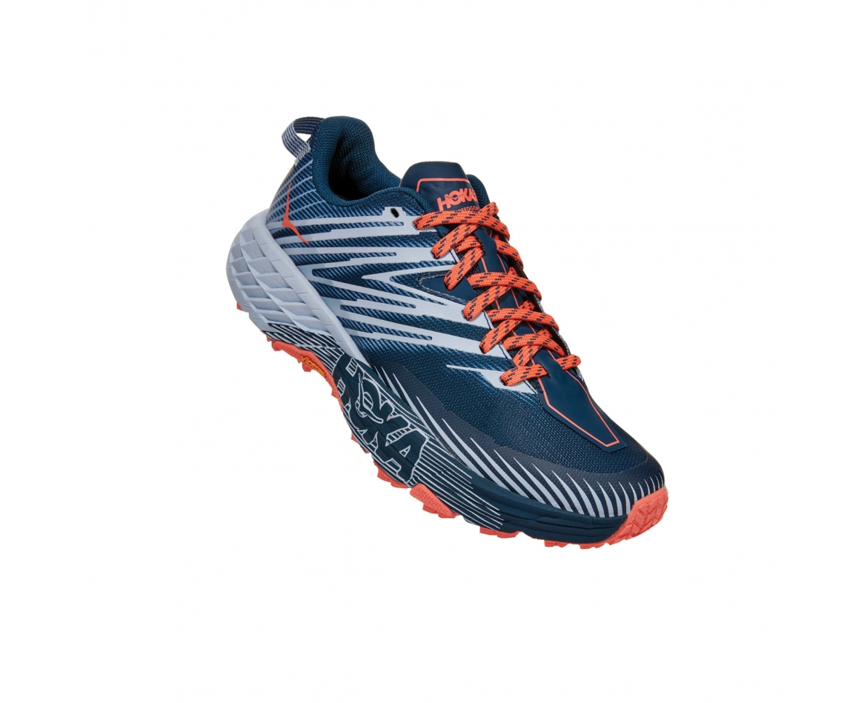 Hoka Speedgoat 4 Wide - נעלי ספורט הוקה ספידגוט רחבות לנשים בצבע כחול/כתום/אפור #1