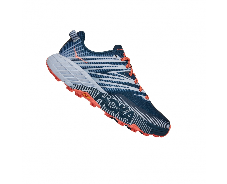 Hoka Speedgoat 4 Wide - נעלי ספורט הוקה ספידגוט רחבות לנשים בצבע כחול/כתום/אפור #3