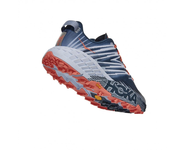 Hoka Speedgoat 4 Wide - נעלי ספורט הוקה ספידגוט רחבות לנשים בצבע כחול/כתום/אפור #2