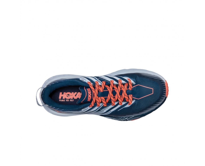 Hoka Speedgoat 4 Wide - נעלי ספורט הוקה ספידגוט רחבות לנשים בצבע כחול/כתום/אפור #6