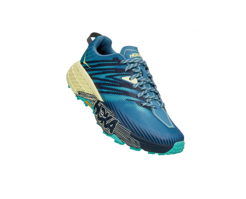 Hoka Speedgoat 4 Wide -נעלי ספורט נשים הוקה ספידגוט רחבות בצבע כחול/ירוק/צהוב #1