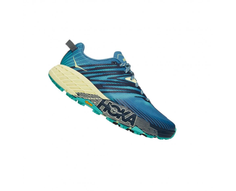 Hoka Speedgoat 4 Wide -נעלי ספורט נשים הוקה ספידגוט רחבות בצבע כחול/ירוק/צהוב #3