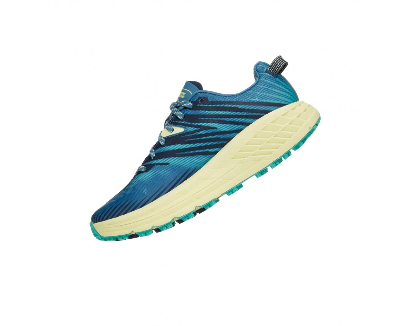 Hoka Speedgoat 4 Wide -נעלי ספורט נשים הוקה ספידגוט רחבות בצבע כחול/ירוק/צהוב #4