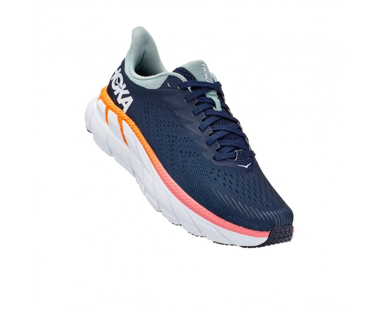Hoka Clifton 7 Wide - נעלי ספורט נשים הוקה קליפטון 7 רחבות בצבע כחול/לבן #1