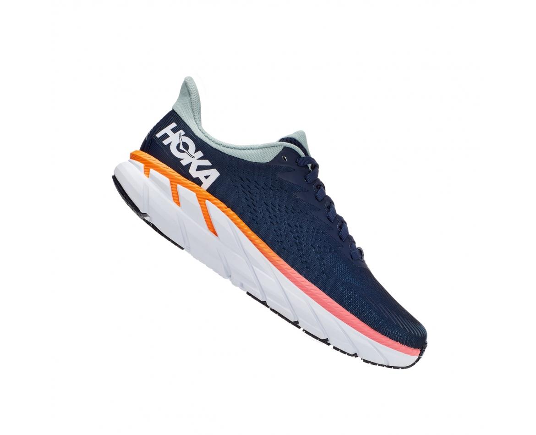 Hoka Clifton 7 Wide - נעלי ספורט נשים הוקה קליפטון 7 רחבות בצבע כחול/לבן #3