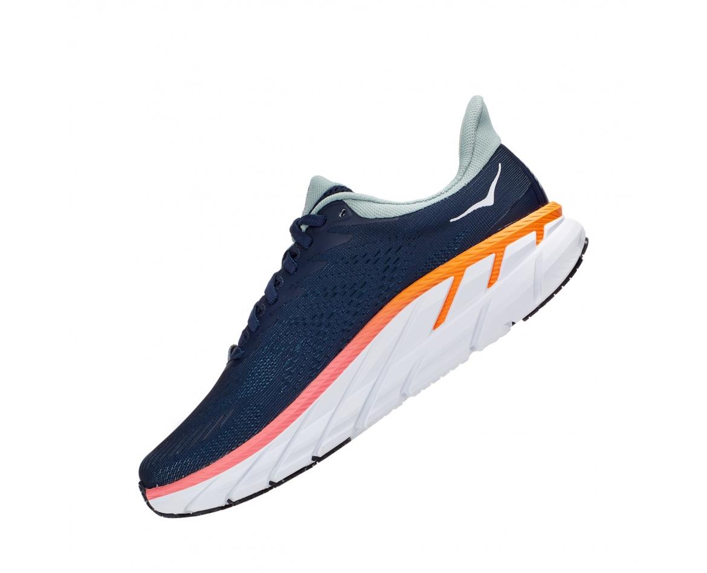 Hoka Clifton 7 Wide - נעלי ספורט נשים הוקה קליפטון 7 רחבות בצבע כחול/לבן #4