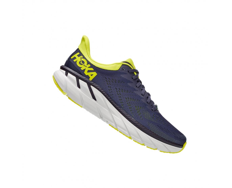Hoka Clifton 7 - נעלי ספורט גברים הוקה קליפטון 7 בצבע כחול/לבן/צהוב #3