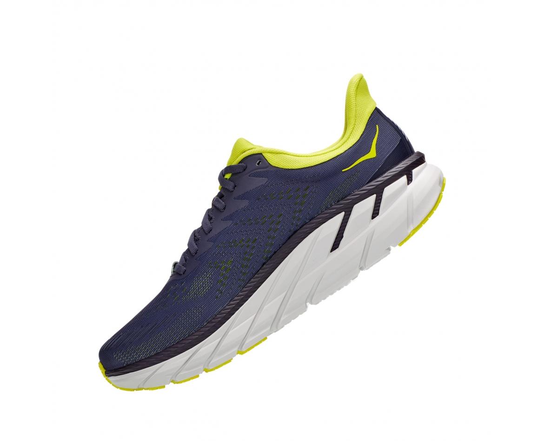 Hoka Clifton 7 - נעלי ספורט גברים הוקה קליפטון 7 בצבע כחול/לבן/צהוב #4