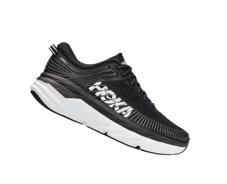 Hoka Bondi 7 Wide - נעלי ספורט נשים הוקה בונדי 7 רחבות בצבע שחור/לבן #3