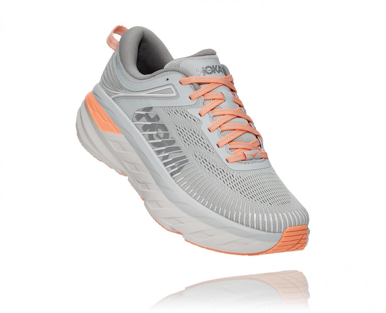 Hoka Bondi 7 - נעלי ספורט נשים הוקה בונדי 7 בצבע אפור/כתום בהיר #1