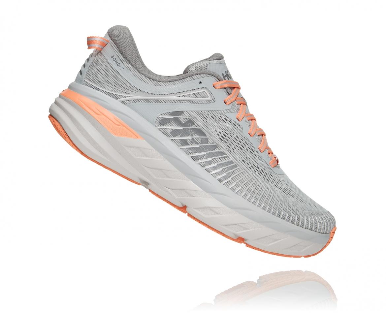 Hoka Bondi 7 - נעלי ספורט נשים הוקה בונדי 7 בצבע אפור/כתום בהיר #3