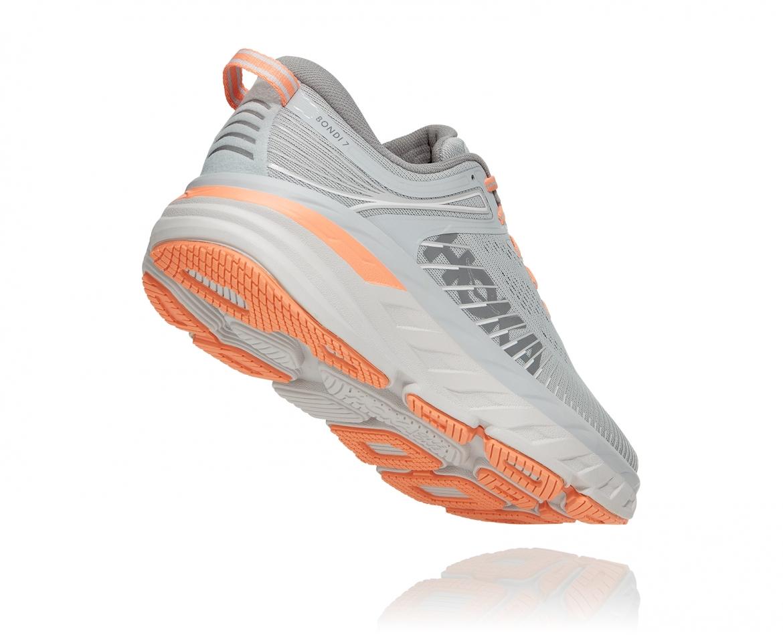 Hoka Bondi 7 - נעלי ספורט נשים הוקה בונדי 7 בצבע אפור/כתום בהיר #2