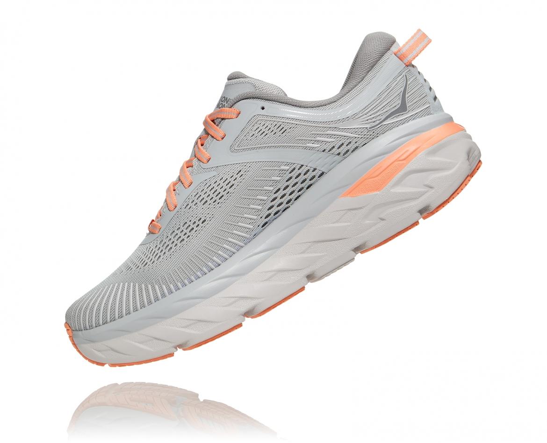 Hoka Bondi 7 - נעלי ספורט נשים הוקה בונדי 7 בצבע אפור/כתום בהיר #4