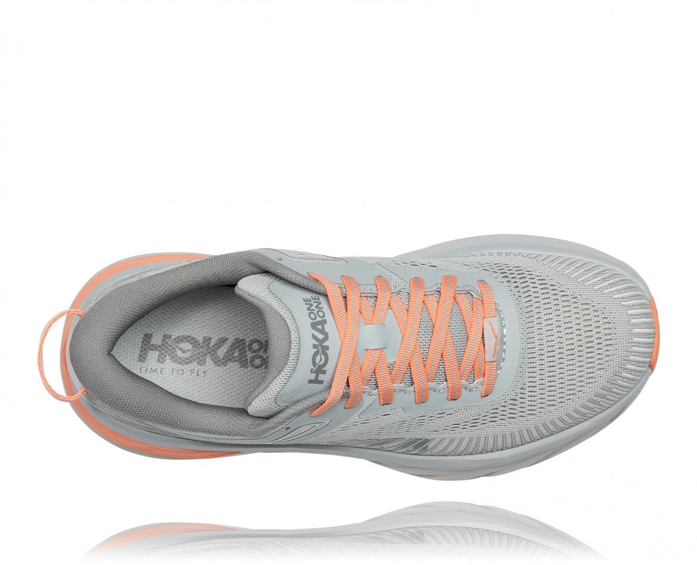 Hoka Bondi 7 - נעלי ספורט נשים הוקה בונדי 7 בצבע אפור/כתום בהיר #5
