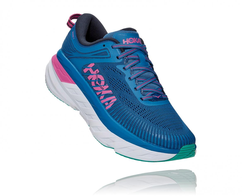 Hoka Bondi 7 - נעלי ספורט נשים הוקה בונדי 7 בצבע כחול עז/פוקסיה #1