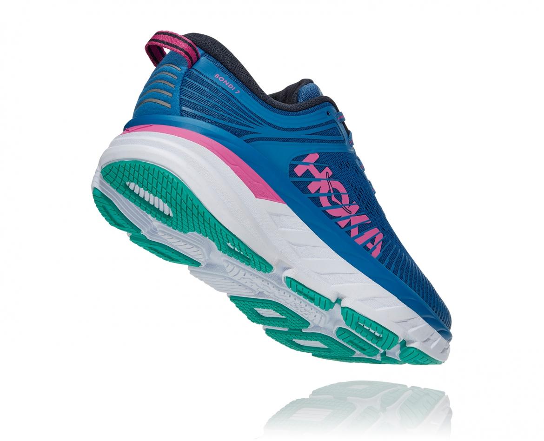 Hoka Bondi 7 - נעלי ספורט נשים הוקה בונדי 7 בצבע כחול עז/פוקסיה #2