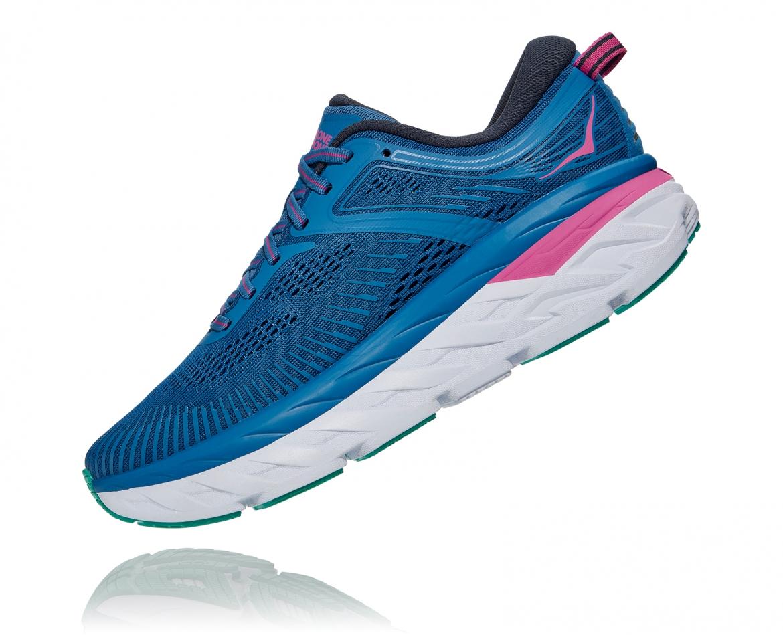 Hoka Bondi 7 - נעלי ספורט נשים הוקה בונדי 7 בצבע כחול עז/פוקסיה #4