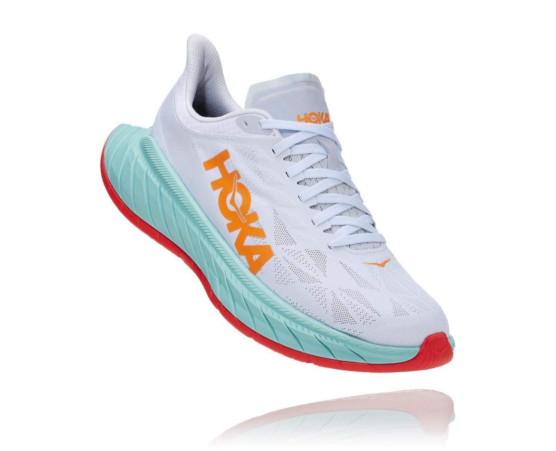 Hoka Carbon X2 - נעלי ספורט לנשים הוקה קרבון איקס 2 בצבע לבן/תכלת/כתום #1