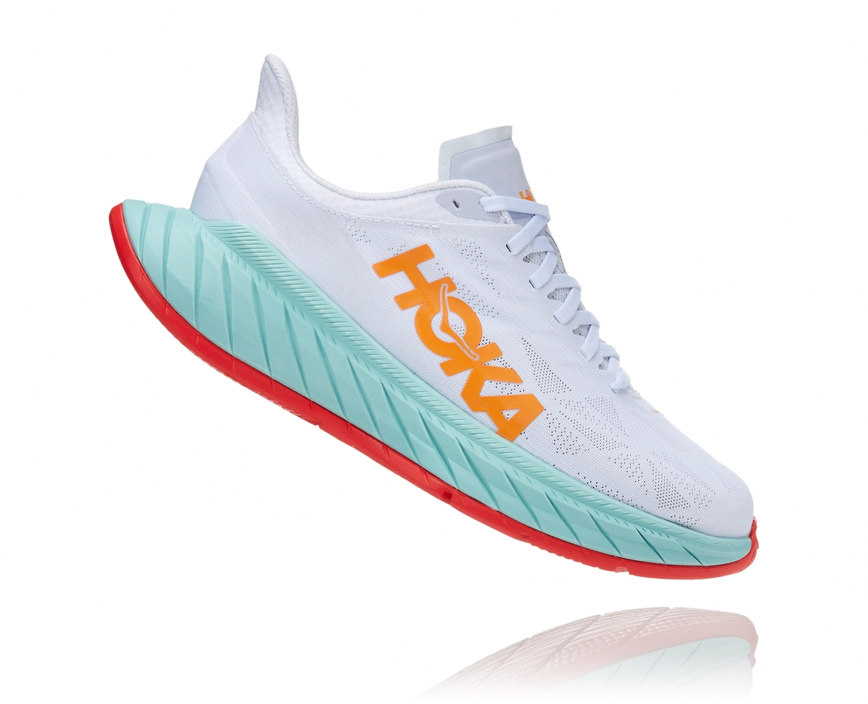 Hoka Carbon X2 - נעלי ספורט לנשים הוקה קרבון איקס 2 בצבע לבן/תכלת/כתום #3