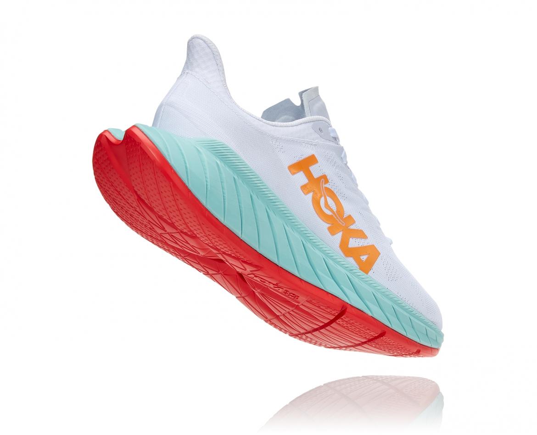 Hoka Carbon X2 - נעלי ספורט לנשים הוקה קרבון איקס 2 בצבע לבן/תכלת/כתום #2