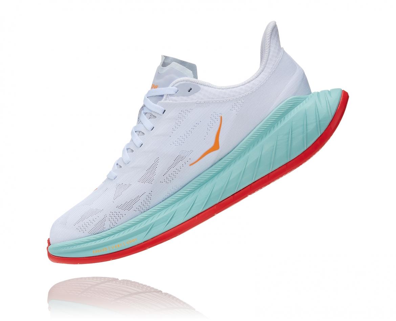 Hoka Carbon X2 - נעלי ספורט לנשים הוקה קרבון איקס 2 בצבע לבן/תכלת/כתום #4
