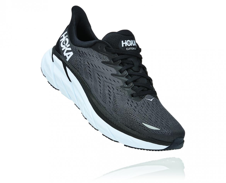 Hoka Clifton 8 - נעלי ספורט גברים הוקה קליפטון 8 בצבע שחור/לבן #1