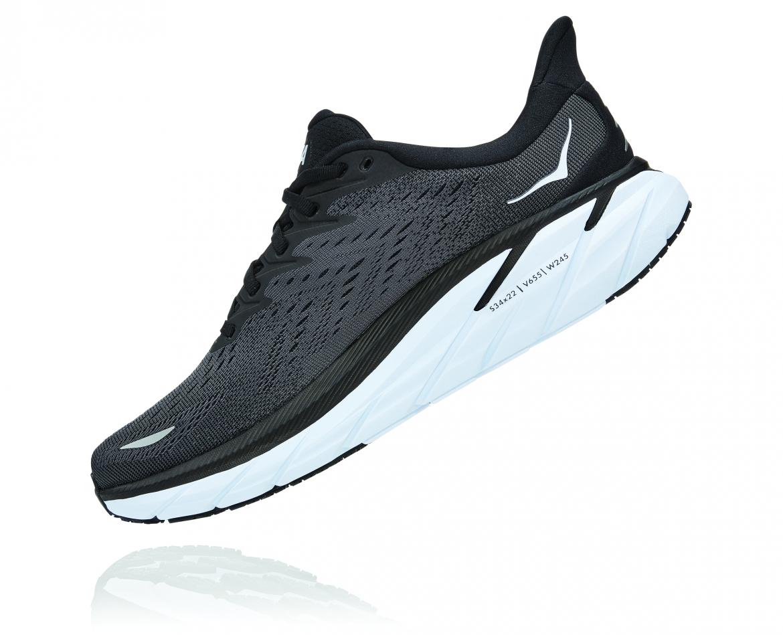 Hoka Clifton 8 - נעלי ספורט גברים הוקה קליפטון 8 בצבע שחור/לבן #4