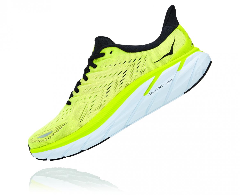 Hoka Clifton 8 - נעלי ספורט גברים הוקה קליפטון 8 בצבע צהוב/לבן #4