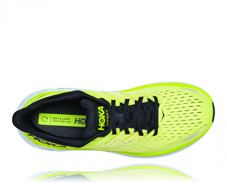 Hoka Clifton 8 - נעלי ספורט גברים הוקה קליפטון 8 בצבע צהוב/לבן #5