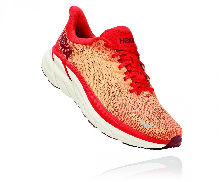 Hoka Clifton 8 - נעלי ספורט גברים הוקה קליפטון 8 בצבע פיאסטה/כתום #1
