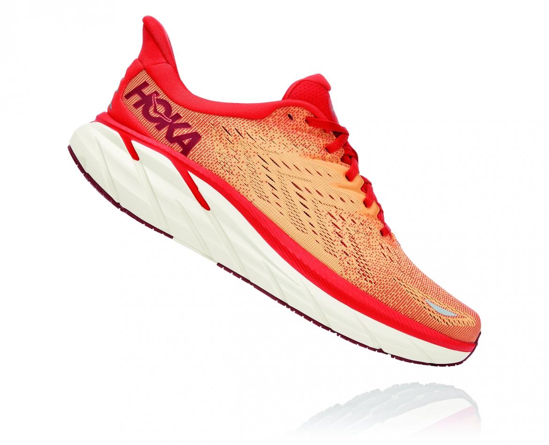 Hoka Clifton 8 - נעלי ספורט גברים הוקה קליפטון 8 בצבע פיאסטה/כתום #3