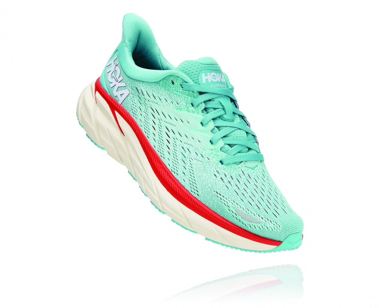Hoka Clifton 8 - נעלי ספורט נשים הוקה קליפטון 8 בצבע תכלת אקווה/כתום #1