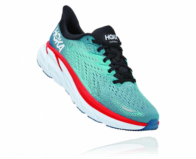 Hoka Clifton 8 Wide - נעלי ספורט גברים הוקה קליפטון 8 רחבות בצבע תכלת/טורקיז #1