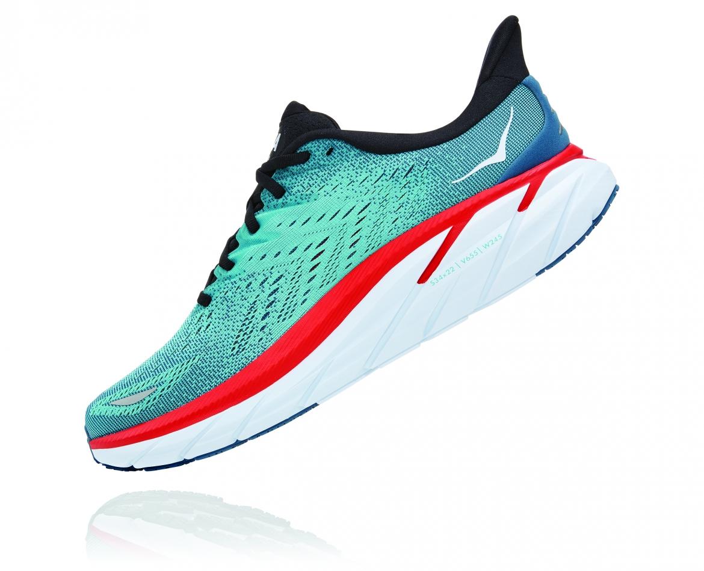 Hoka Clifton 8 Wide - נעלי ספורט גברים הוקה קליפטון 8 רחבות בצבע תכלת/טורקיז #4