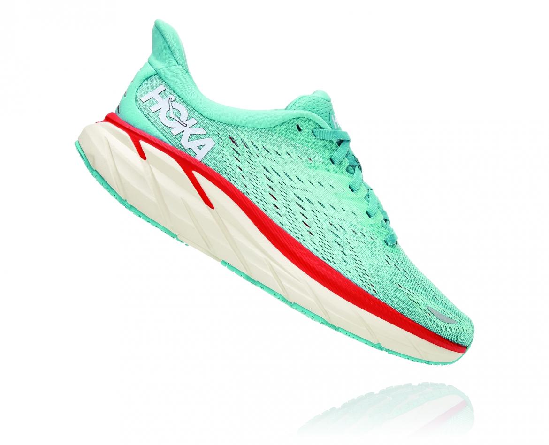 Hoka Clifton 8 Wide - נעלי ספורט נשים הוקה קליפטון 8 רחבות בצבע תכלת/אקווה כתום #3