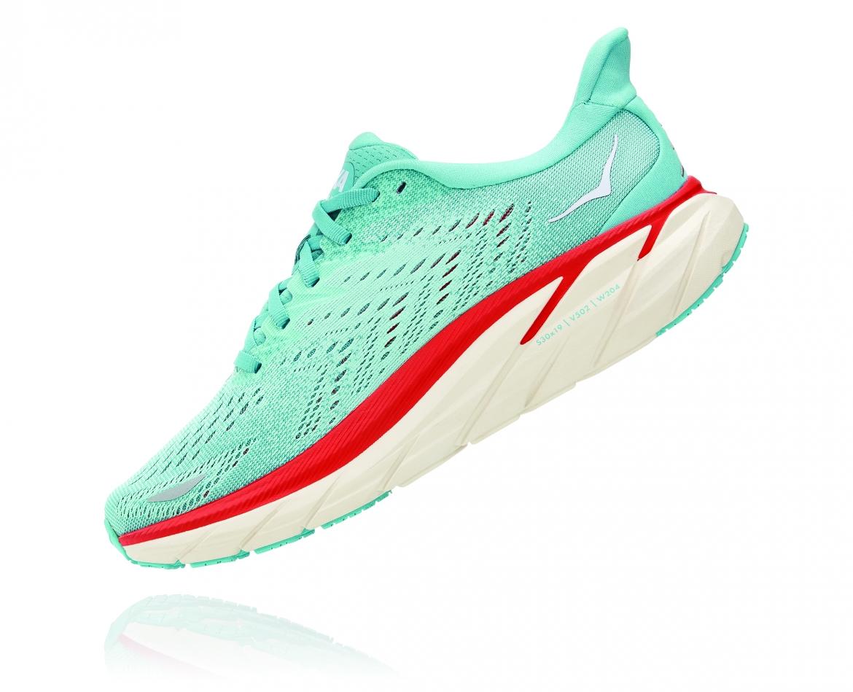 Hoka Clifton 8 Wide - נעלי ספורט נשים הוקה קליפטון 8 רחבות בצבע תכלת/אקווה כתום #4