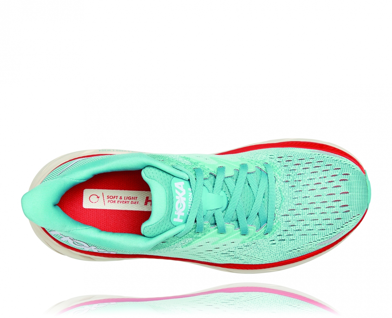 Hoka Clifton 8 Wide - נעלי ספורט נשים הוקה קליפטון 8 רחבות בצבע תכלת/אקווה כתום #5