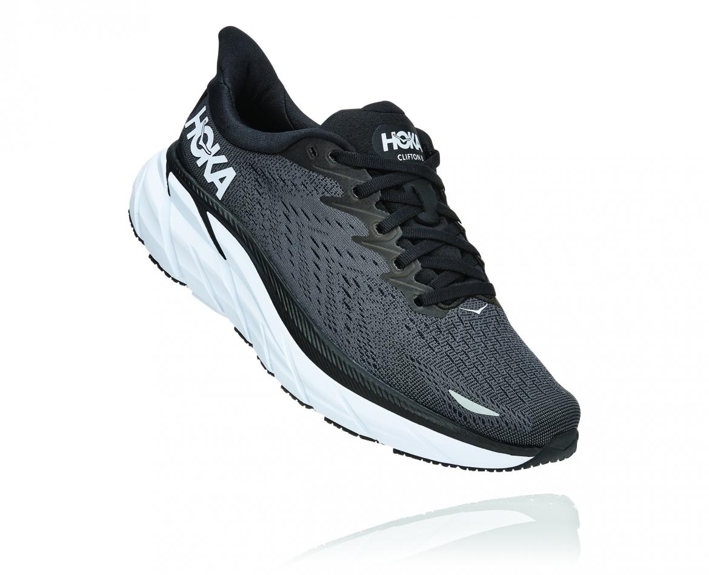 Hoka Clifton 8 Wide - נעלי ספורט נשים הוקה קליפטון 8 רחבות בצבע שחור/לבן #1
