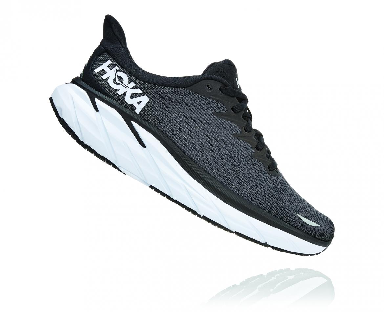 Hoka Clifton 8 Wide - נעלי ספורט נשים הוקה קליפטון 8 רחבות בצבע שחור/לבן #3