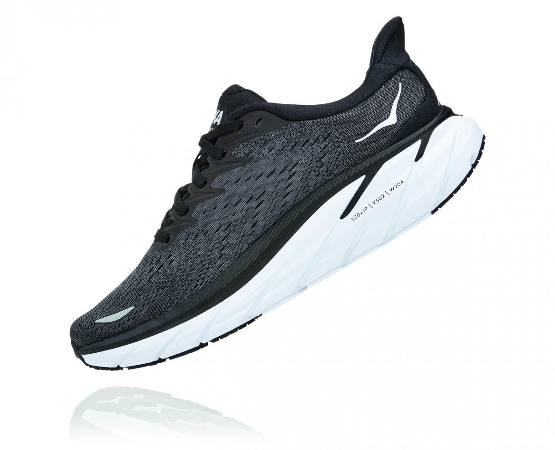Hoka Clifton 8 Wide - נעלי ספורט נשים הוקה קליפטון 8 רחבות בצבע שחור/לבן #4