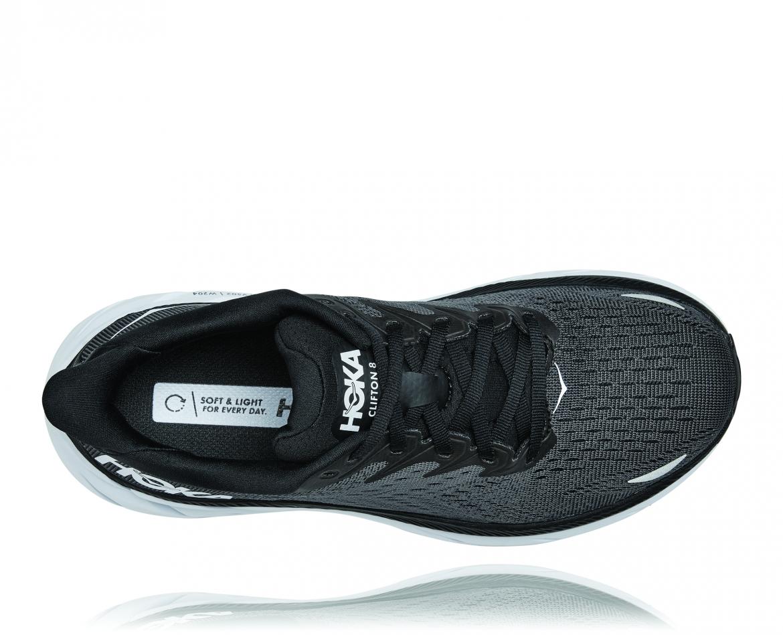 Hoka Clifton 8 Wide - נעלי ספורט נשים הוקה קליפטון 8 רחבות בצבע שחור/לבן #5