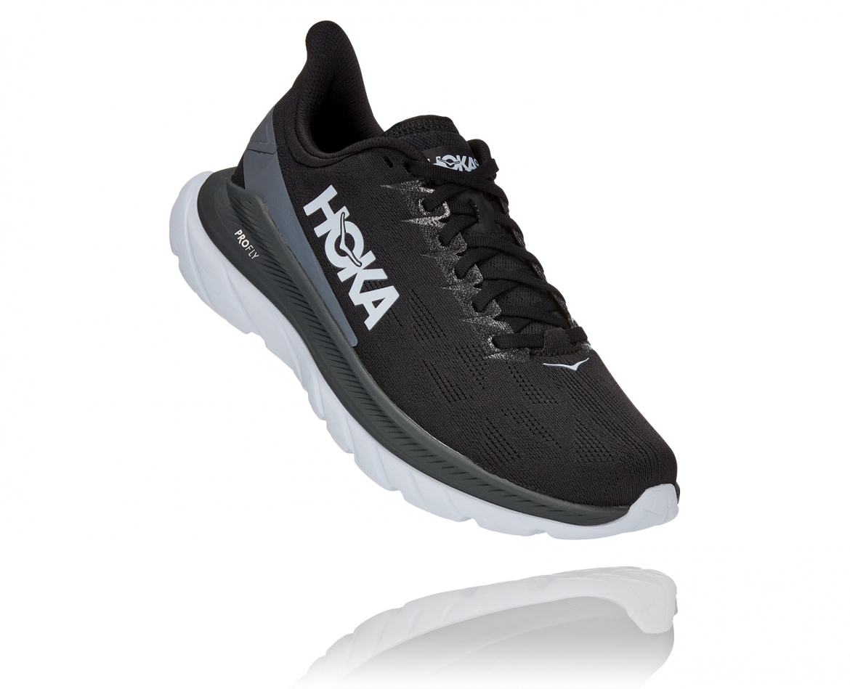 Hoka Mach 4 - נעלי ספורט גברים הוקה מאכ 4 בצבע שחור כהה/לבן/שחור #1