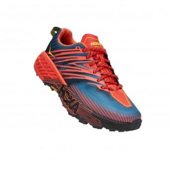 Hoka Speedgoat 4 Wide - נעלי ספורט גברים הוקה ספידגוט 4 רחבות בצבע פיאסטה אדום/כחול