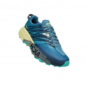 Hoka Speedgoat 4 Wide -נעלי ספורט נשים הוקה ספידגוט רחבות בצבע כחול/ירוק/צהוב