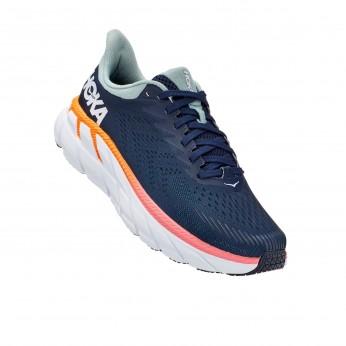 Hoka Clifton 7 Wide - נעלי ספורט נשים הוקה קליפטון 7 רחבות בצבע כחול/לבן
