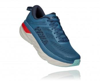 Hoka Bondi 7 Wide - נעלי ספורט גברים הוקה בונדי 7 רחבות בצבע כחול/אפור/כתום