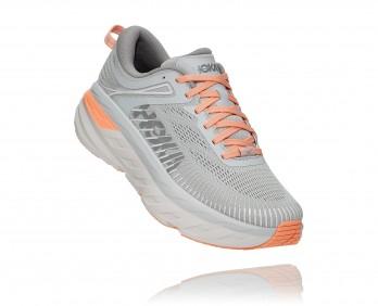 Hoka Bondi 7 Wide - נעלי ספורט נשים הוקה בונדי 7 רחבות בצבע אפור/כתום בהיר